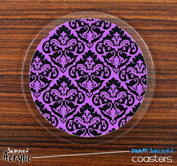 The Mirrored Purple Lace Skinned Foam-Backed Coaster Set