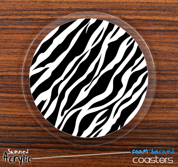 The Vector Zebra Print Skinned Foam-Backed Coaster Set