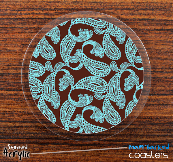 The Brown & Turquoise Paisley Skinned Foam-Backed Coaster Set