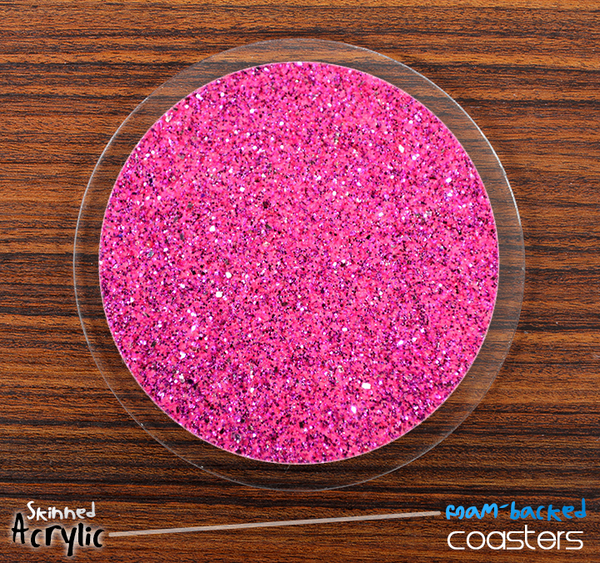 The Pink Glitter Skinned Foam-Backed Coaster Set