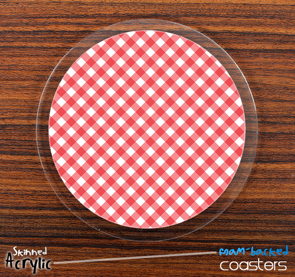 The Pink Plaid Skinned Foam-Backed Coaster Set