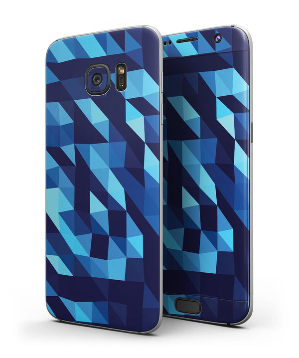 50 Shades of Blue Geometric Triangles - Full-Body Skin Kit for the Galaxy S7 Edge