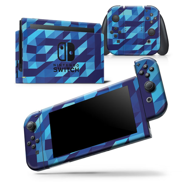 50 Shades of Blue Geometric Triangles - Skin Wrap Decal for Nintendo Switch Lite Console & Dock - 3DS XL - 2DS - Pro - DSi - Wii - Joy-Con Gaming Controller