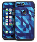 50 Shades of Blue Geometric Triangles - iPhone 7 Plus LifeProof Fre Case Skin Kit