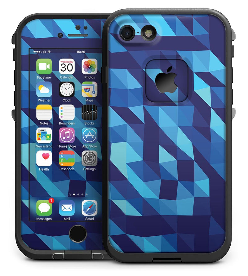 50 Shades of Blue Geometric Triangles - iPhone 7 LifeProof Fre Case Skin Kit