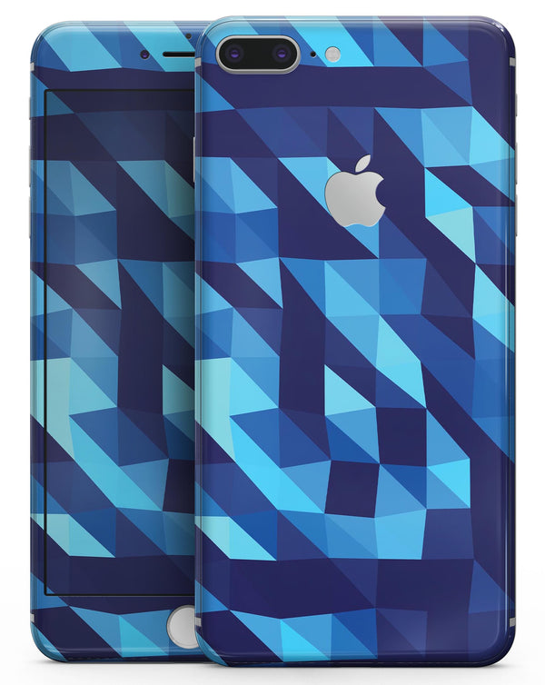 50 Shades of Blue Geometric Triangles - Skin-kit for the iPhone 8 or 8 Plus