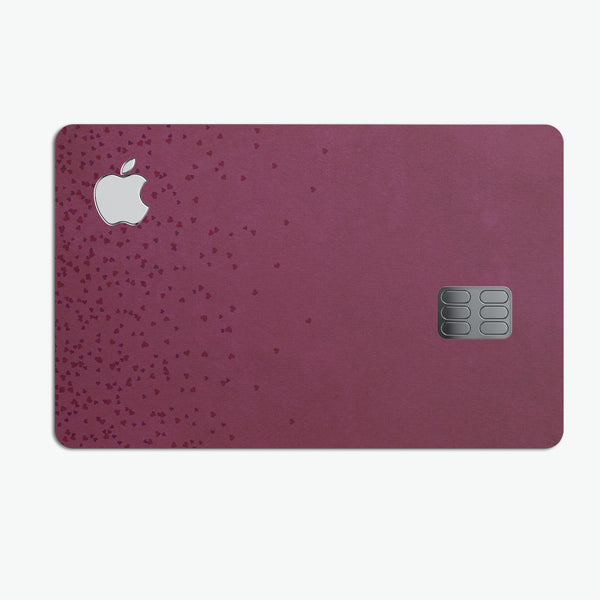 50 Shades of Burgandy Micro Hearts - Premium Protective Decal Skin-Kit for the Apple Credit Card
