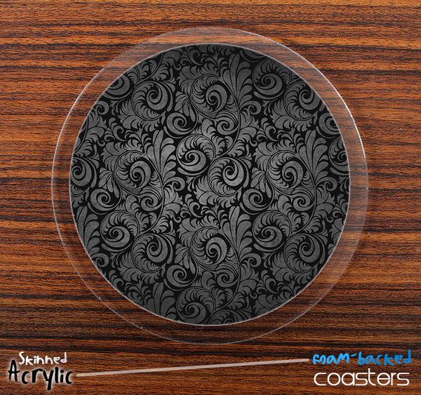The Black Paisley Skinned Foam-Backed Coaster Set