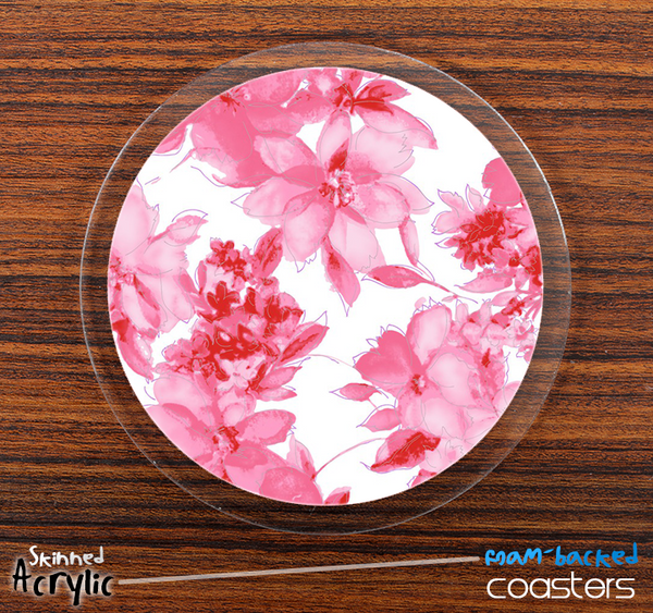 The Pink & White Abstract Floral Skinned Foam-Backed Coaster Set