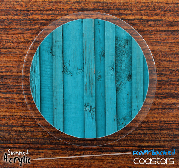 The Turquoise Blue Wood Planks Skinned Foam-Backed Coaster Set