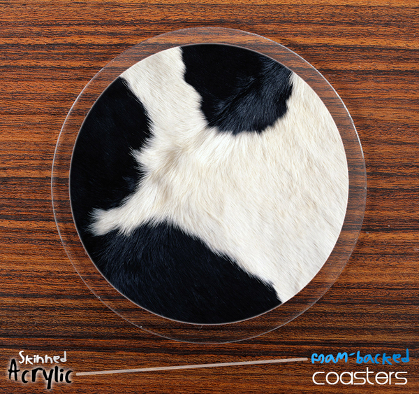 The Cow Print Skinned Foam-Backed Coaster Set