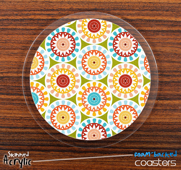 The Vintage Circle Pattern Skinned Foam-Backed Coaster Set