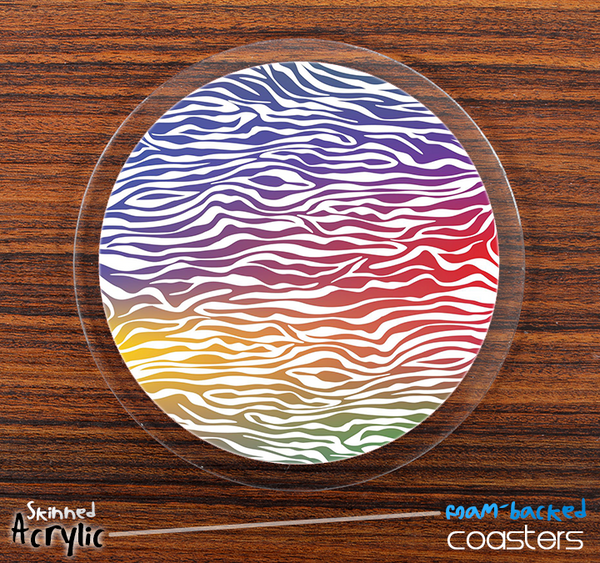 The Colorful Zebra Print Skinned Foam-Backed Coaster Set