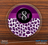 The Purple & White Leopard Monogram Skinned Foam-Backed Coaster Set