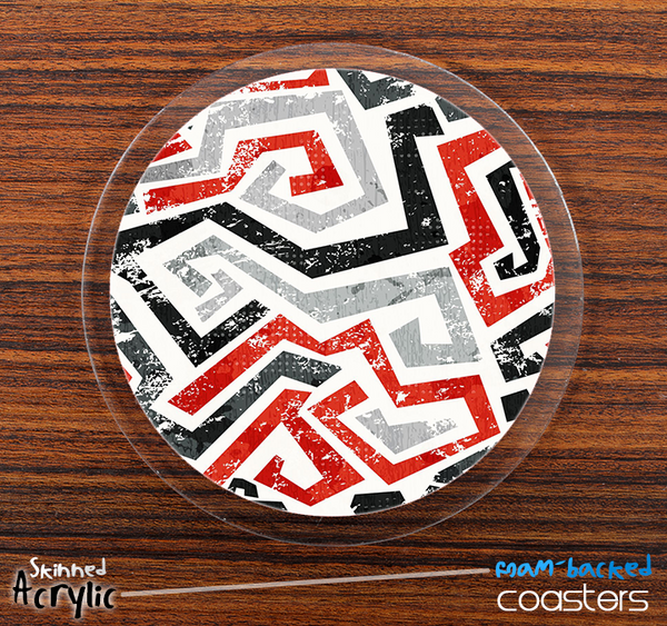 The Red Gray Black Abstract Pattern Skinned Foam-Backed Coaster Set