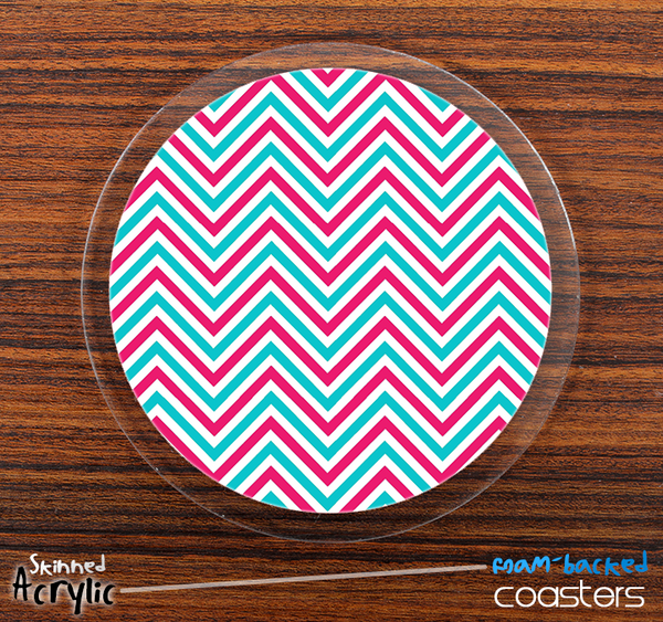 The Sharp Pink and Blue Chevron Pattern Skinned Foam-Backed Coaster Set