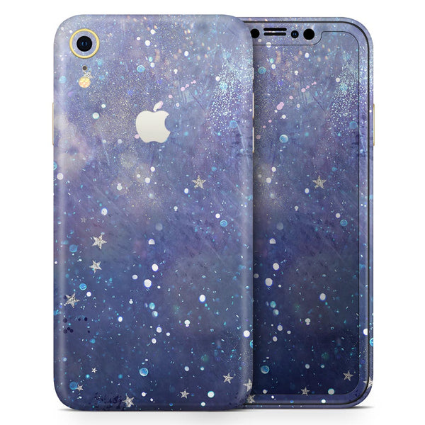 Abstract Blue Grungy Stars - Skin-Kit for the Apple iPhone XR, XS MAX, XS/X, 8/8+, 7/7+, 5/5S/SE (All iPhones Available)