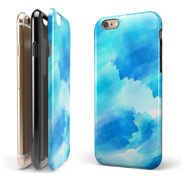 Abstract Blue Stroked Watercolour iPhone 6/6s or 6/6s Plus 2-Piece Hybrid INK-Fuzed Case