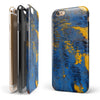 Abstract Blue and Gold Wet Paint iPhone 6/6s or 6/6s Plus 2-Piece Hybrid INK-Fuzed Case