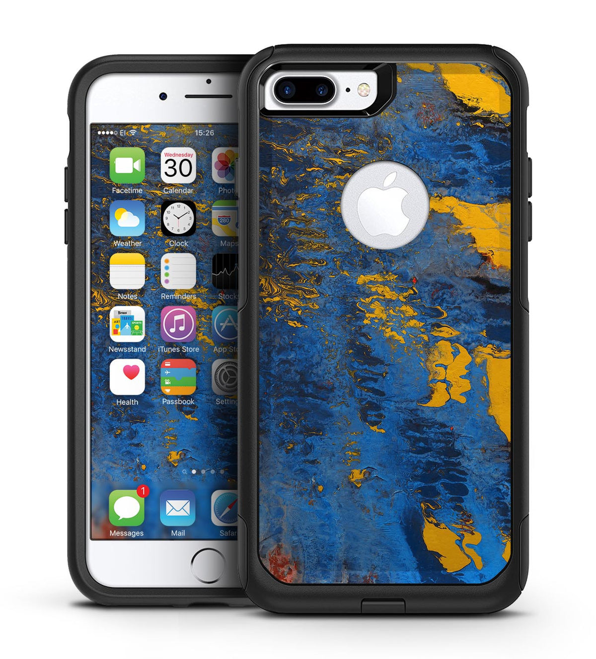low priced 566b1 be481 Abstract Blue and Gold Wet Paint - iPhone 7 or 7 Plus Commuter Case Skin Kit
