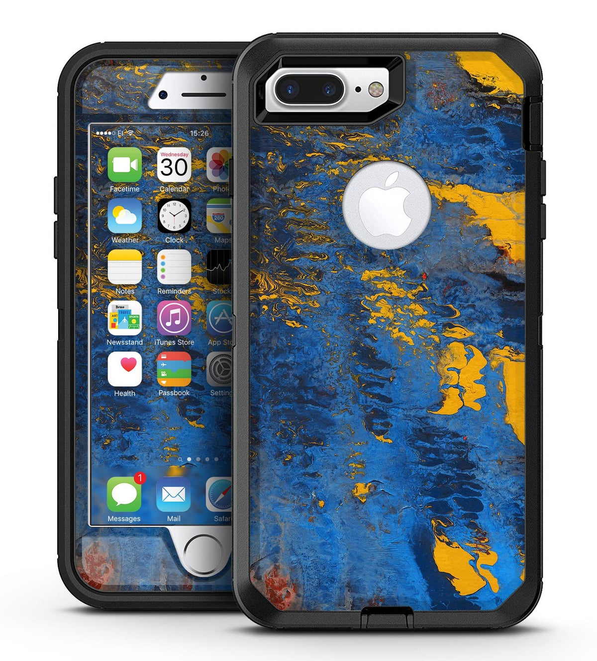 super popular 37dc2 d26eb Abstract Blue and Gold Wet Paint - iPhone 7 Plus/8 Plus OtterBox Case &  Skin Kits