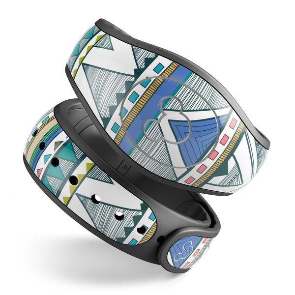 Abstract Blue and Green Triangle Aztec copy - Decal Skin Wrap Kit for the Disney Magic Band