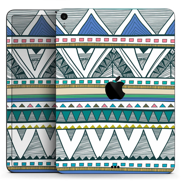 "Abstract Blue and Green Triangle Aztec - Full Body Skin Decal for the Apple iPad Pro 12.9"", 11"", 10.5"", 9.7"", Air or Mini (All Models Available)"