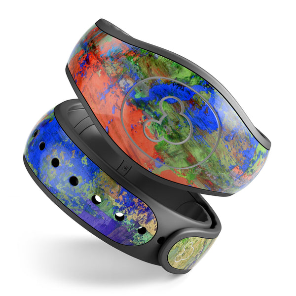 Abstract Bright Primary and Secondary Colored Oil Painting - Decal Skin Wrap Kit for the Disney Magic Band