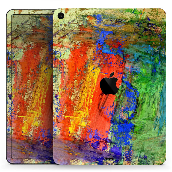 "Abstract Bright Primary and Secondary Colored Oil Painting - Full Body Skin Decal for the Apple iPad Pro 12.9"", 11"", 10.5"", 9.7"", Air or Mini (All Models Available)"