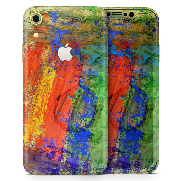Abstract Bright Primary and Secondary Colored Oil Painting - Skin-Kit for the Apple iPhone XR, XS MAX, XS/X, 8/8+, 7/7+, 5/5S/SE (All iPhones Available)