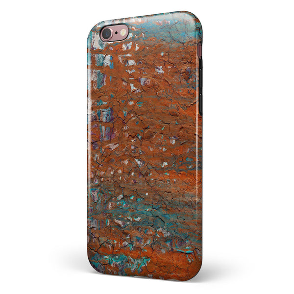 Abstract Cracked Burnt Paint iPhone 6/6s or 6/6s Plus 2-Piece Hybrid INK-Fuzed Case