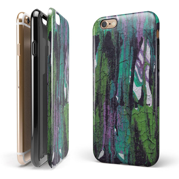 Abstract Cracked Green Paint Wall iPhone 6/6s or 6/6s Plus 2-Piece Hybrid INK-Fuzed Case