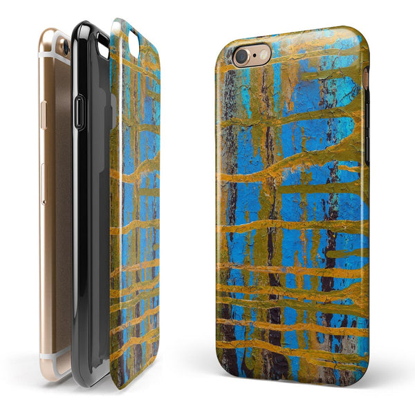 Abstract Gold and Teal Wet Paint iPhone 6/6s or 6/6s Plus 2-Piece Hybrid INK-Fuzed Case