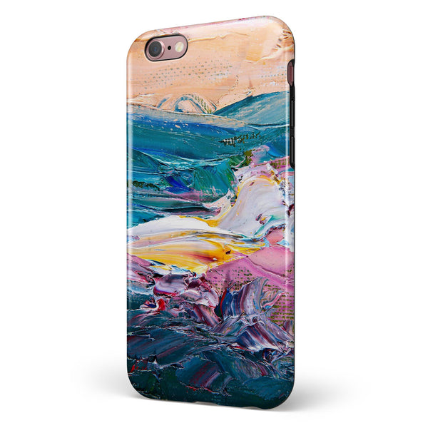 Abstract Oil Strokes iPhone 6/6s or 6/6s Plus 2-Piece Hybrid INK-Fuzed Case