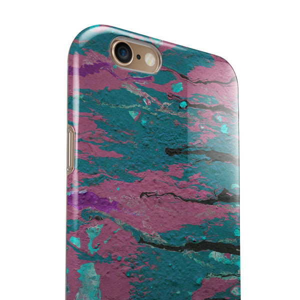 Abstract Retro Pink Wet Paint iPhone 6/6s or 6/6s Plus 2-Piece Hybrid INK-Fuzed Case