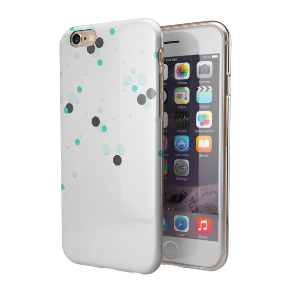 Abstract Scattered Black and Teal Dots iPhone 6/6s or 6/6s Plus 2-Piece Hybrid INK-Fuzed Case