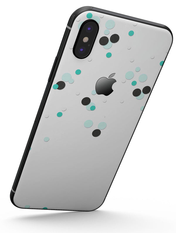 Abstract Scattered Black and Teal Dots - iPhone X Skin-Kit