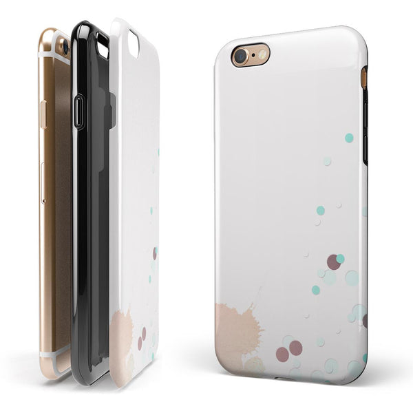 Abstract Scattered Teal Dots with Paint Spill iPhone 6/6s or 6/6s Plus 2-Piece Hybrid INK-Fuzed Case