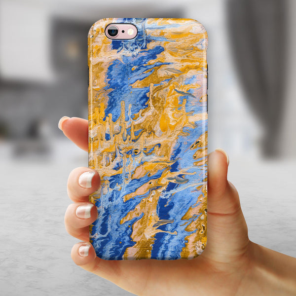 Abstract Wet Paint Blue and Gold Tilt iPhone 6/6s or 6/6s Plus 2-Piece Hybrid INK-Fuzed Case