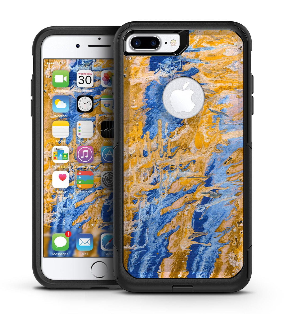 100% authentic 8ae23 710fa Abstract Wet Paint Blue and Gold Tilt - iPhone 7 or 7 Plus Commuter Case  Skin Kit