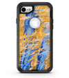 Abstract Wet Paint Blue and Gold Tilt - iPhone 7 or 8 OtterBox Case & Skin Kits