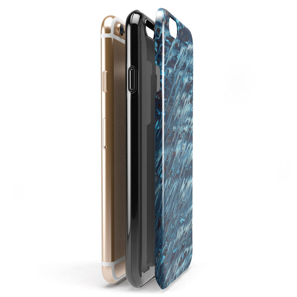 Abstract Wet Paint Blues v972 iPhone 6/6s or 6/6s Plus 2-Piece Hybrid INK-Fuzed Case