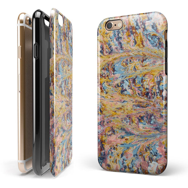 Abstract Wet Paint Color Paradise iPhone 6/6s or 6/6s Plus 2-Piece Hybrid INK-Fuzed Case