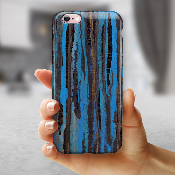 Abstract Wet Paint Dark Blues iPhone 6/6s or 6/6s Plus 2-Piece Hybrid INK-Fuzed Case