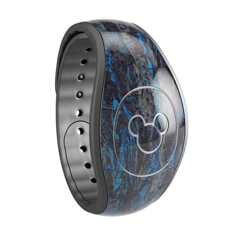 Abstract Wet Paint Dark Blues v2 - Decal Skin Wrap Kit for the Disney Magic Band