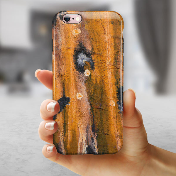 Abstract Wet Paint Dark Gold iPhone 6/6s or 6/6s Plus 2-Piece Hybrid INK-Fuzed Case
