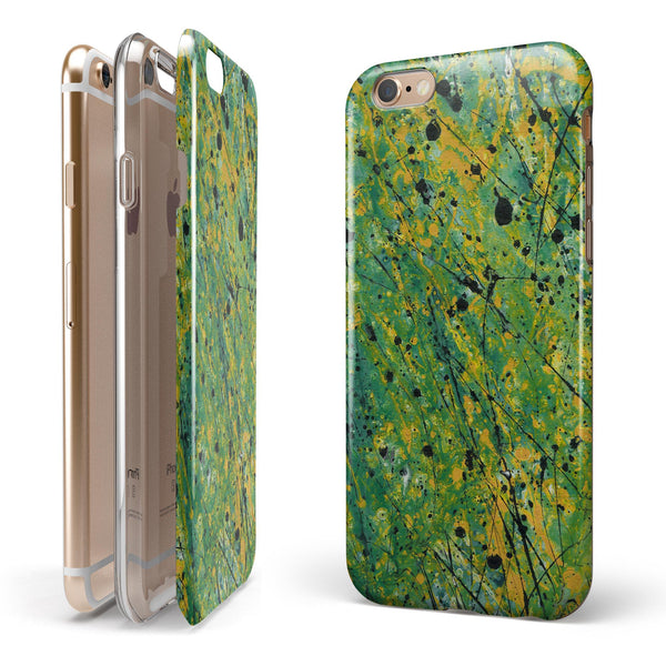 Abstract Wet Paint Green Lines iPhone 6/6s or 6/6s Plus 2-Piece Hybrid INK-Fuzed Case