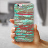 Abstract Wet Paint Mint Rustic iPhone 6/6s or 6/6s Plus 2-Piece Hybrid INK-Fuzed Case