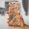Abstract Wet Paint Orange iPhone 6/6s or 6/6s Plus 2-Piece Hybrid INK-Fuzed Case