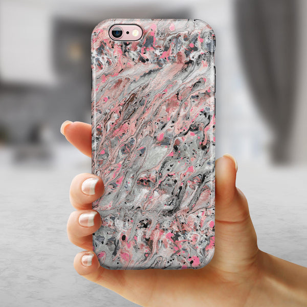 Abstract Wet Paint Pink Swirl iPhone 6/6s or 6/6s Plus 2-Piece Hybrid INK-Fuzed Case